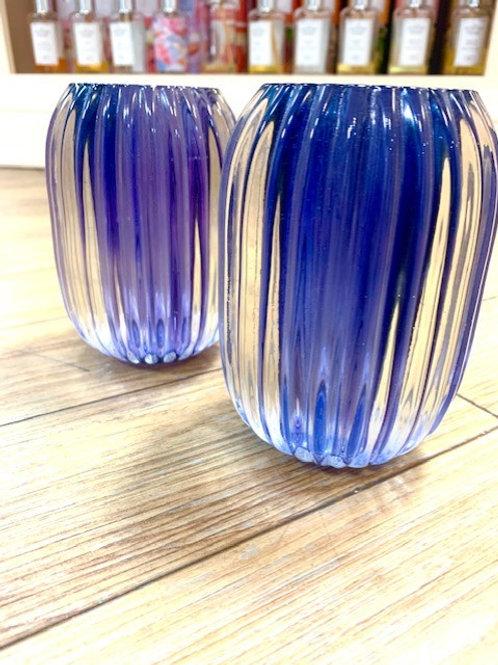 Light and Living Blue Glass Vase/Tealight Holder