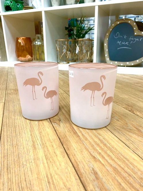 Coach House Pink Glass Flamingo Candle Holder 13cm