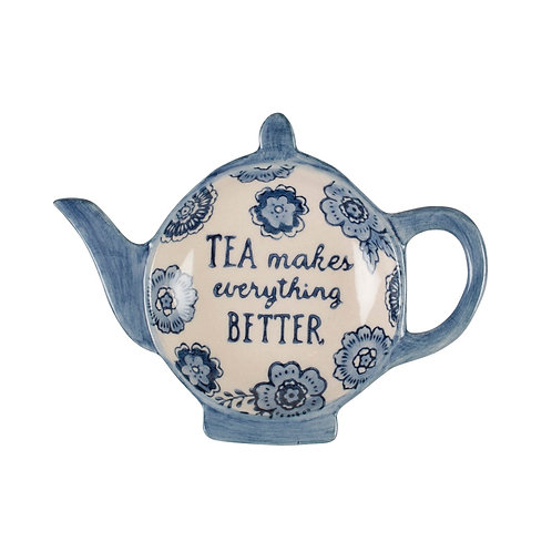 Sass and Belle Blue Floral Tea Lovers Tea Bag Dish