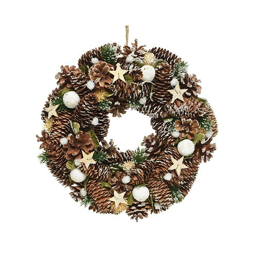 Pinecone Wreath with Snowballs and Stars
