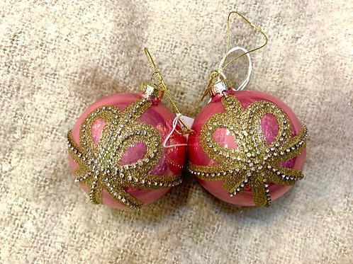 Pink Glass Bauble with Gold Bow