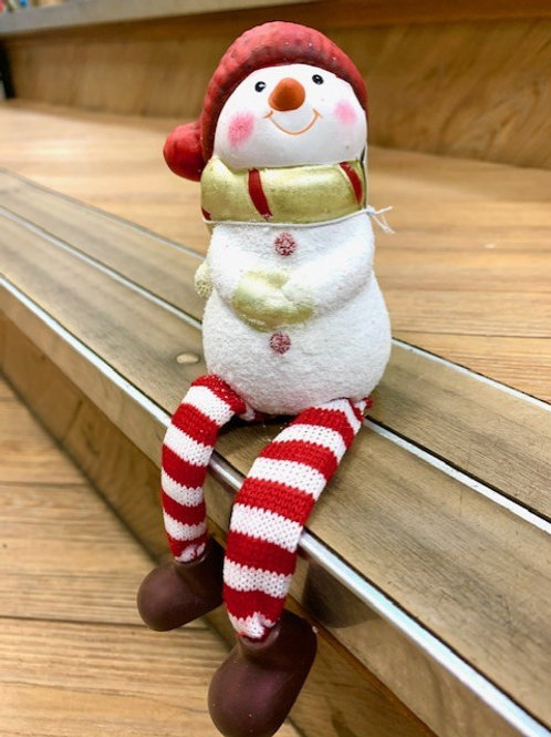 Ceramic Shelf Sitter Snowman with Scarf and Red White Stripey Legs