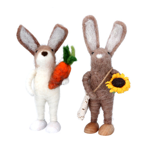 Gisela Graham Wool Mix Easter Bunny with Flower and Carrot Set of Two Decoration