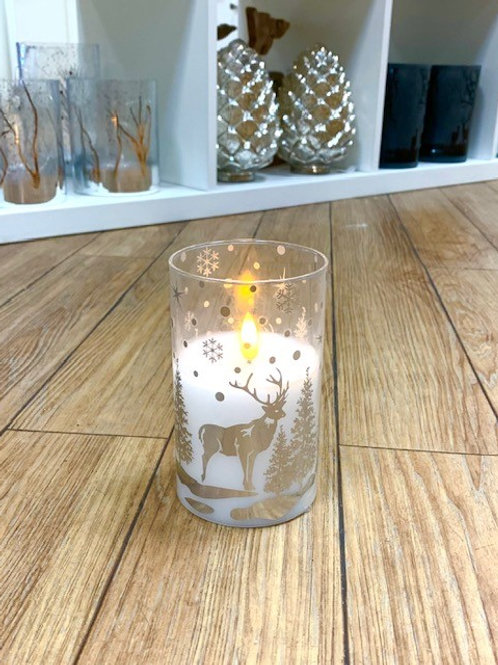 LED Lit Glass Flickering Candle with Silver Stag and Forest Scene