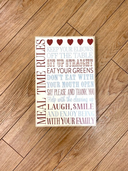"""Langs """"Meal Time Rules"""" Wooden Plaque/Sign"""