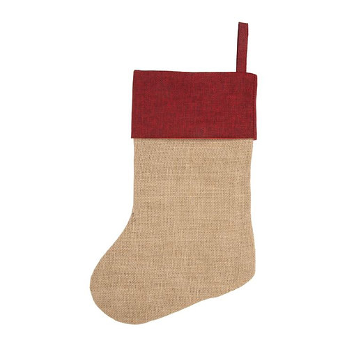 Personalisable Jute Stocking with Red Trim