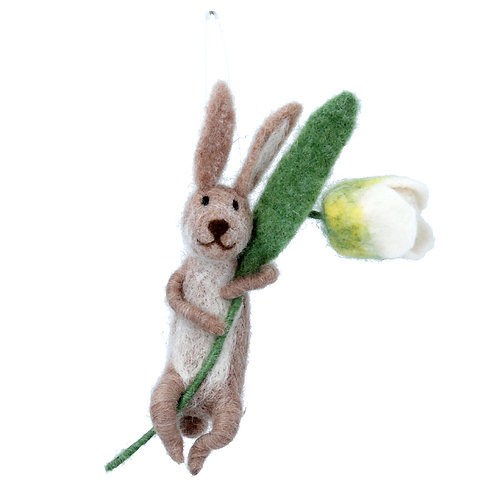 Gisela Graham Wool Mix Easter Bunny with Flower Decoration