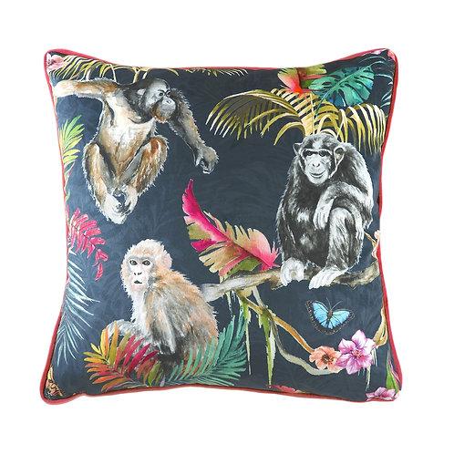 Jungle Monkey Blue Square Cushion by Riva Home 43x43cm