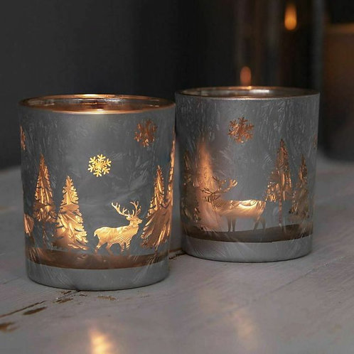 Set of 2 Silver Forest Scene Candle Holders