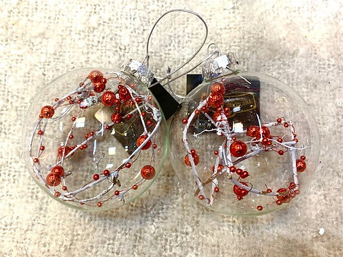 Clear Glass Bauble with Red Decoration and Twigs