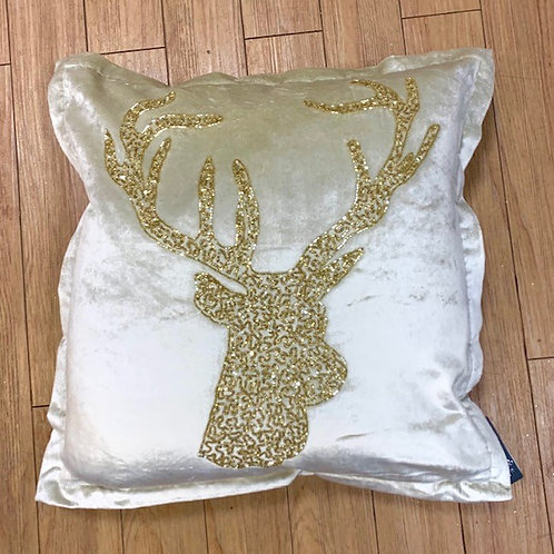 Large Gold Velour Stag Cushion with Beading