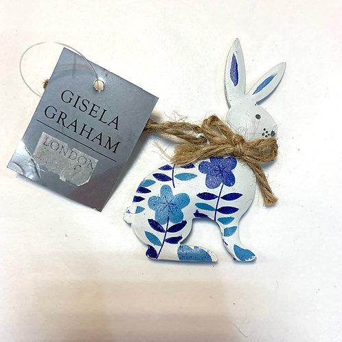 Gisela Graham Blue White Flower Metal Bunny Easter Hanger