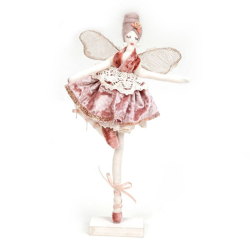 Blush Ballerina on Wooden Stand - 30cm