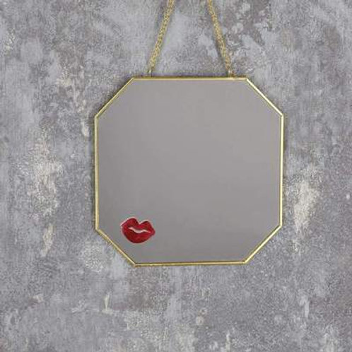 Candlelight Lips Hanging Gold Mirror