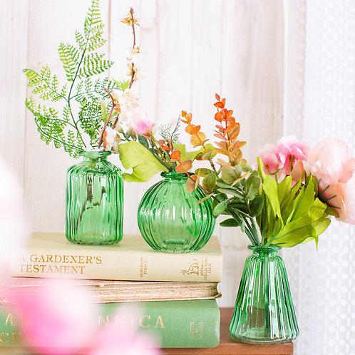 Sass & Belle Green Glass Bud Vases - Set of 3