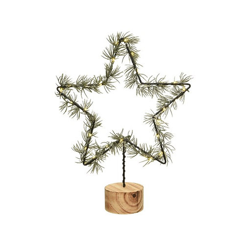 LED Star Branch on Wooden Stand