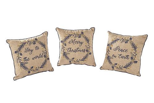 """Christmas Wreath Cushion - """"Joy to the World"""""""
