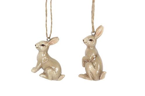 Gisela Graham Set of Two Hanging Ceramic Brown Easter Bunnies