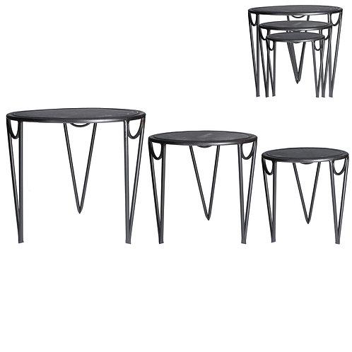Gisela Graham Set of Three Galvanised Metal Nest of Tables