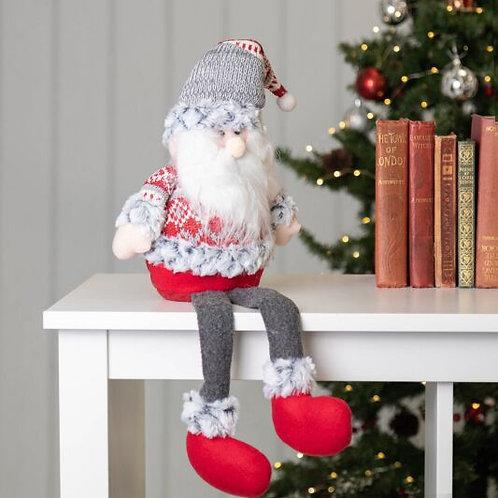 Gisela Graham Grey and Red Nordic Santa Shelf Sitter