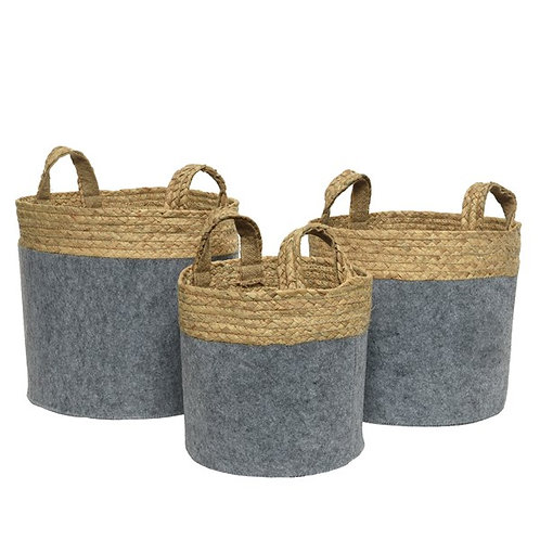 Large Felt Basket in Velvet Charcoal