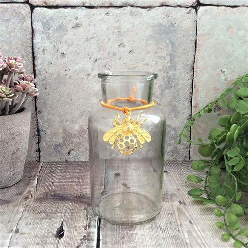 Gisela Graham Glass Vase with Bee Charm