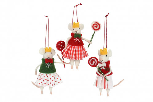 Gisela Graham Wool Girl Mouse with Lollipop - Gingham