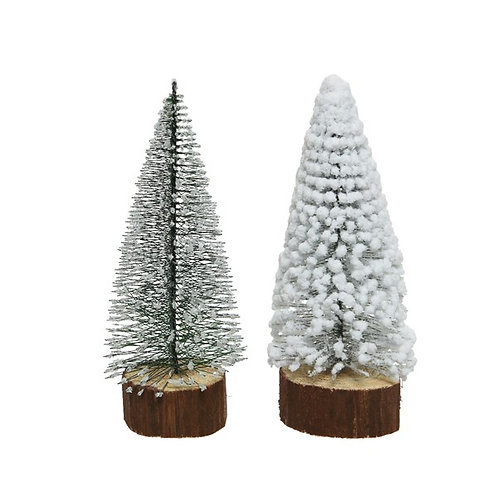 Mini Wooden Tree on a Wooden Base - White