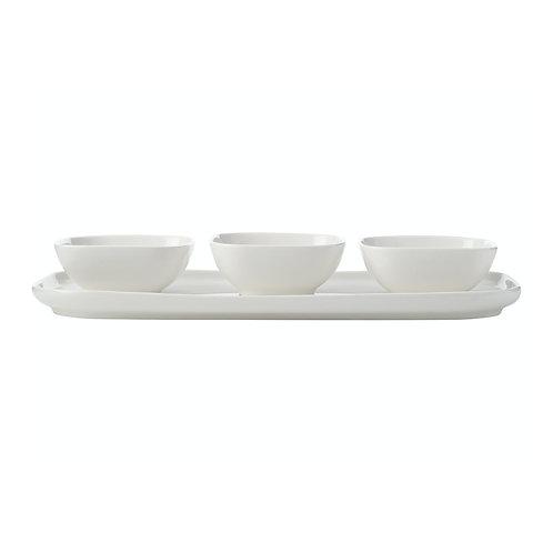 White Ceramic Rectangle Platter & 3 Square Bowls