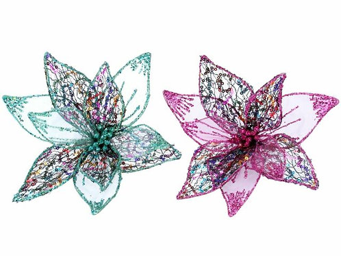Gisela Graham Wire/Mesh Pink Flower Clip Large