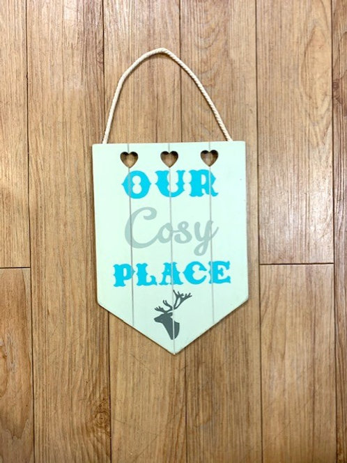 """Langs """"Our Cosy Place"""" With Stag Motif Wooden Plaque/Sign"""
