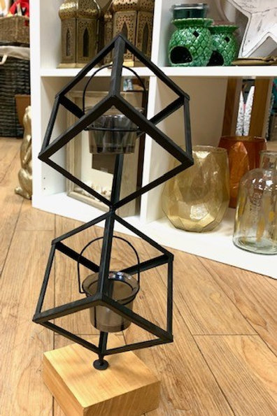 Industrial Style Black Metal Votive Candle Holder on Wooden Base