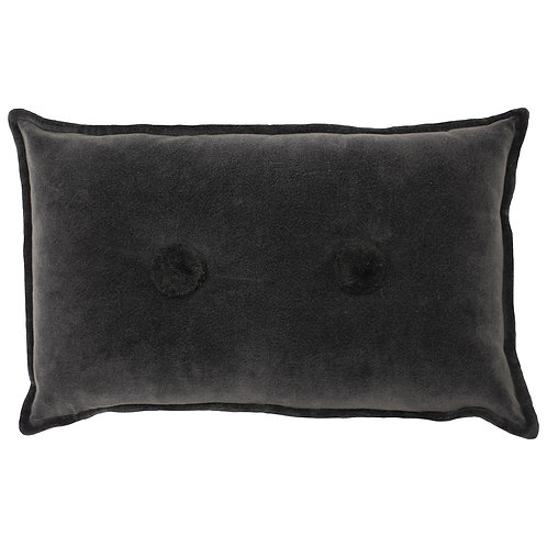 Bobble Charcoal Cushion with Pom Pom Buttons by Riva Home 30x50cm