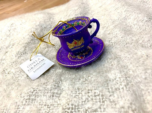 Gisela Graham Purple Resin Tea Cup and Saucer