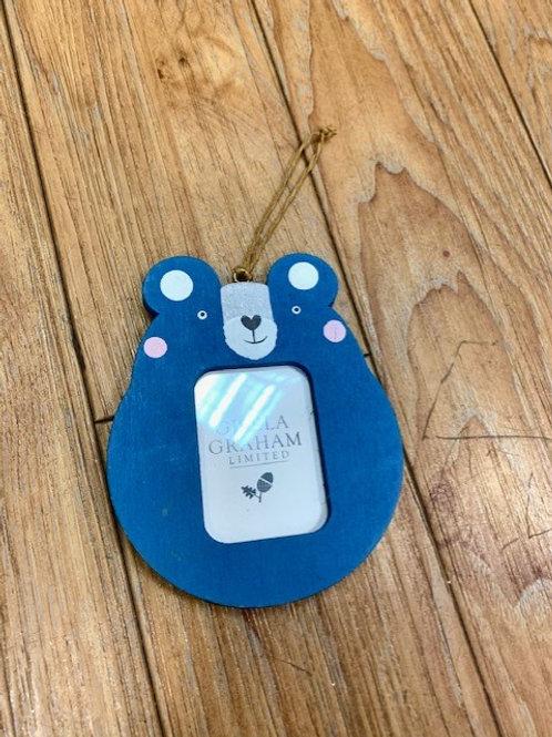 Gisela Graham Forest Friends Wood Mini Photo Frame - Blue Bear
