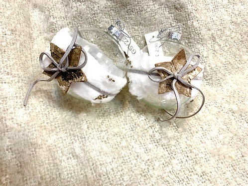 Clear Glass Bauble with Leather Tie and Star