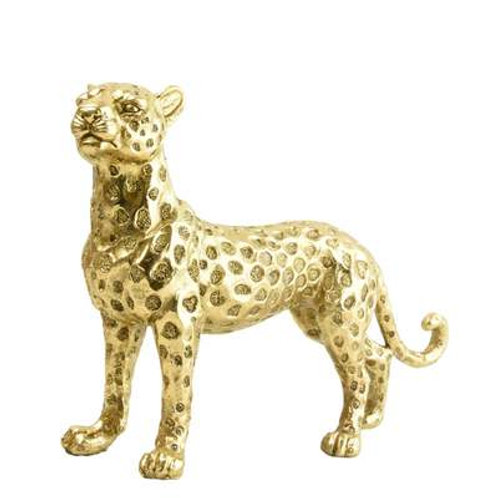 Candlelight Gold Standing Resin Leopard