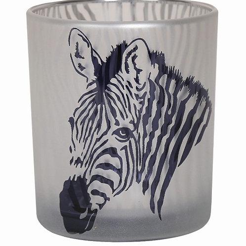 Glass Zebra Candle Holder