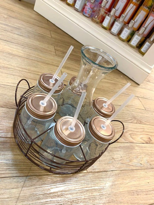 Drinks Carousel - Carafe and 6 Jars with Straws