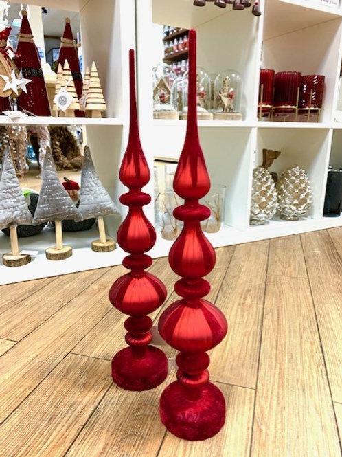 Gisela Graham Red Velvet Flocked Glass Finial