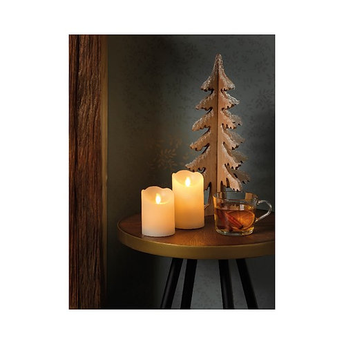 LED Lit Waxed Candle - Cream