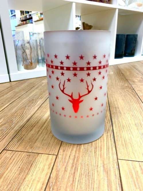 Etched Glass Red Stag Hurricane Lantern