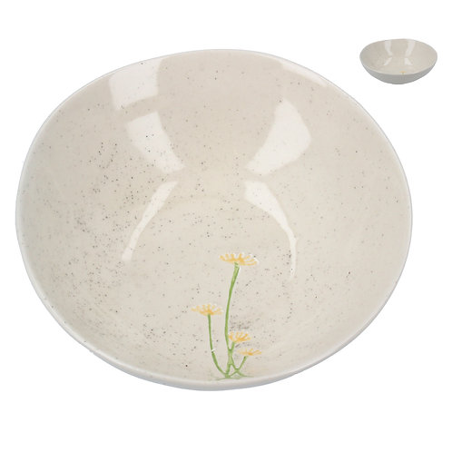 Gisela Graham Ceramic Artisan Bowl -Yellow Daisy/Lavender