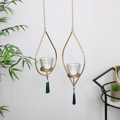 Gisela Graham Gold Hanging Tealight Holder with Green Tassel