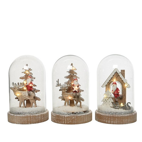 LED Lit Glass Cloche with Christmas Scene - Santa in a Tree