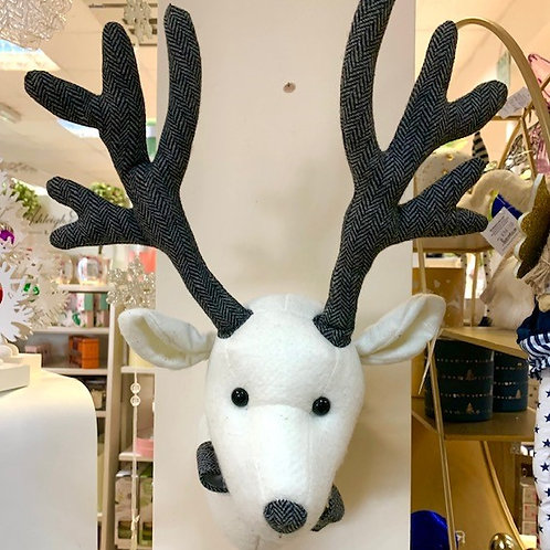 White Plush Wall Mountable Stags Head with Bowtie