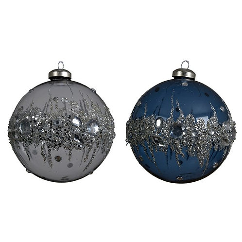 Set of 2 Glass Baubles with Ice Diamonds