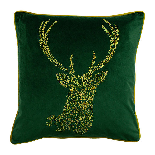 Forest Fauna Stag Velvet Cushion Emerald Green and Gold 50x50cm