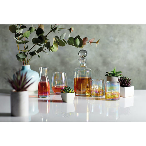 Barcraft Iridescent Glass Whisky Decanter Set with 2 Glasses