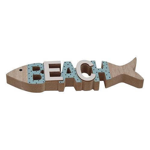 Heaven Sends Wooden Beach Fish Sign
